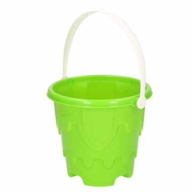 Zandkasteel emmer/strandemmertje groen 18 x 16 cm speelgoed