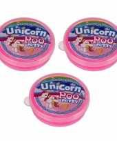 3x potjes roze eenhoorn slijm speelgoed 40 gram