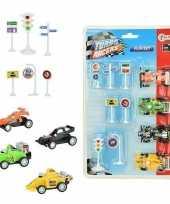 4x race auto met verkeersborden stoplichten speelgoed set