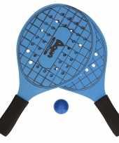 Blauwe beachball set met tennisracketprint buitenspeelgoed