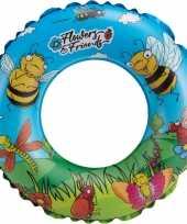 Blauwe bloemen opblaasbare zwemband zwemring 45 cm kids speelgoed