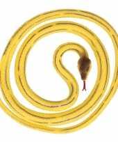 Grote rubberen speelgoed python slangen geel 137 cm