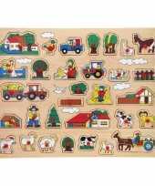 Houten knopjes noppen puzzel boerderij thema 45 x 35 cm speelgoed