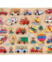 Houten knopjes noppen puzzel voertuigen thema 45 x 35 cm speelgoed