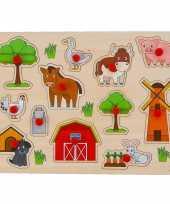 Houten knopjes noppen speelgoed puzzel boerderij thema 30 x 22 cm