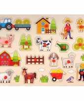 Houten knopjes noppen speelgoed puzzel boerderij thema 40 x 30 cm