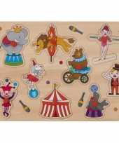 Houten knopjes noppen speelgoed puzzel circus thema 30 x 22 cm