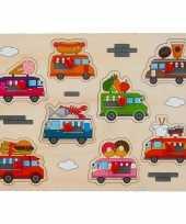 Houten knopjes noppen speelgoed puzzel foodtruck thema 30 x 22 cm