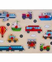 Houten knopjes noppen speelgoed puzzel voertuigen thema 30 x 22 cm