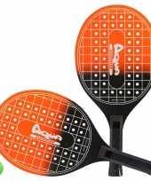 Oranje zwarte beachball set met tennisracketprint buitenspeelgoed