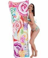 Roze snoepjes print opblaasbaar luchtbed 177 x 60 cm kids speelgoed