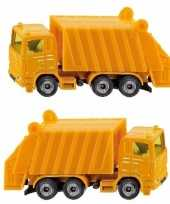 Set van 2x stuks siku vuilniswagens speelgoed modelauto 10 cm