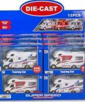 Speelgoed auto camper wit rood 10 x 17 cm