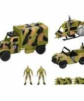 Speelgoed leger army set met voertuigen en soldaten 8 delig