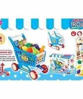 Speelgoed winkelwagen met boodschappen 38 delig