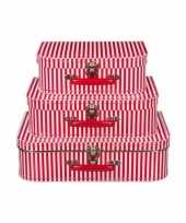 Speelgoedkoffertje rood gestreept 30 cm